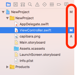 ファイル変更マーク