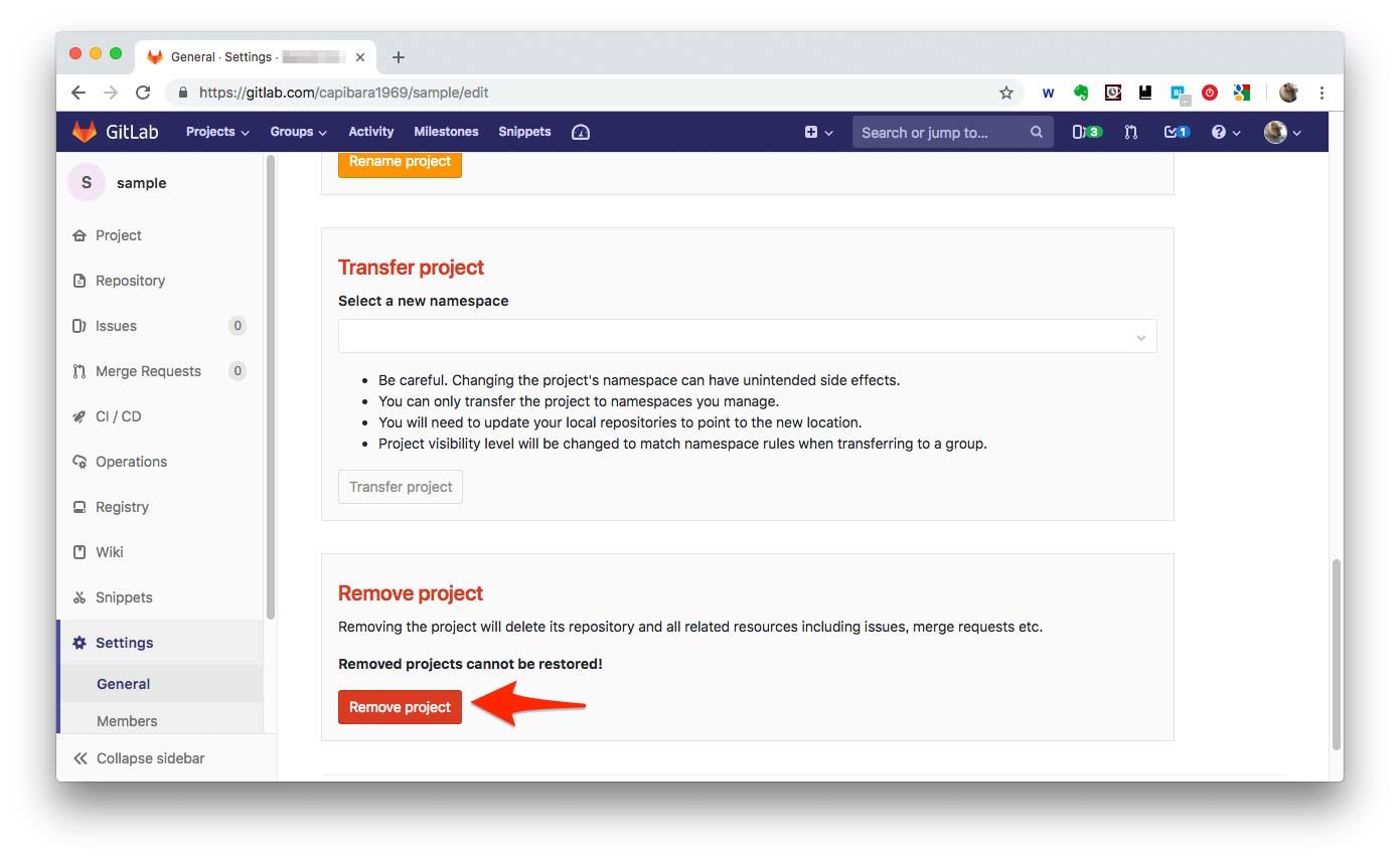 図:Remove projectの選択