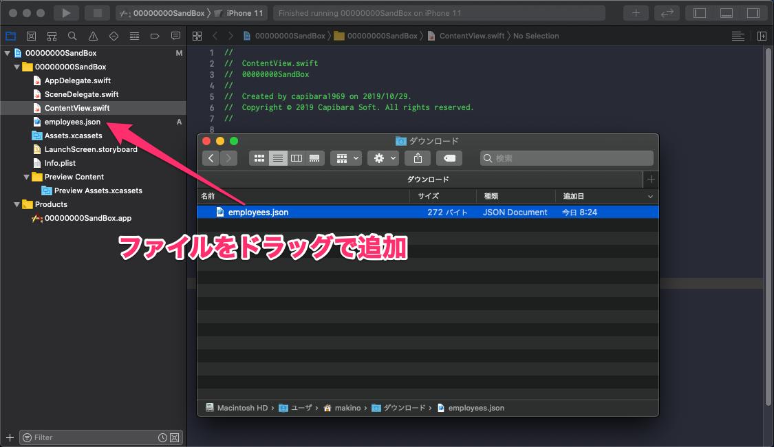 プロジェクトにJSONファイルを追加する